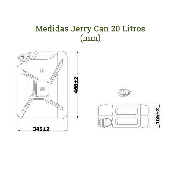 Medidas jerry can 20 litros